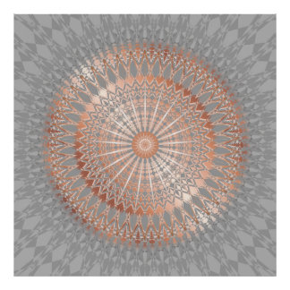 Rose Gold Gray Mandala Poster