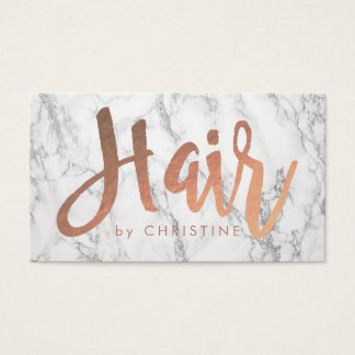 rose gold hair script on marble business card