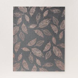 Rose gold hand drawn boho feathers hand drawn grey jigsaw puzzle