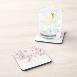 Rose gold hand drawn floral doodles and confetti coaster