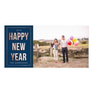 Rose Gold Happy New Year Faux Glitter on Navy Blue Customized Photo Card