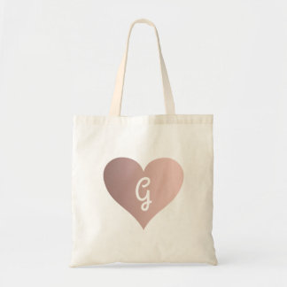 rose gold heart monogram tote bag