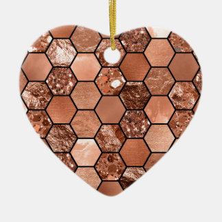 Rose gold hexaglam ceramic heart decoration