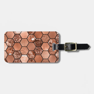Rose gold hexaglam luggage tag