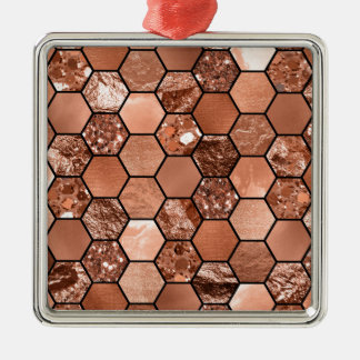 Rose gold hexaglam Silver-Colored square decoration