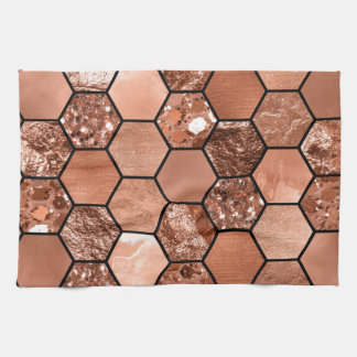 Rose gold hexaglam tea towel