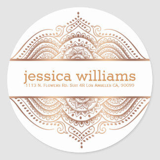 Rose-Gold Lace Floral Paisley Geometric Design Round Sticker