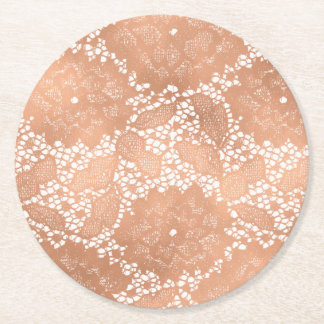 Rose Gold Lace & Floral Wedding Reception Party Round Paper Coaster