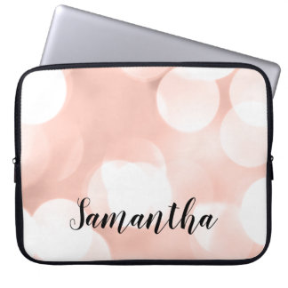 Rose Gold Large Bokeh Lights Personalized Laptop Sleeve