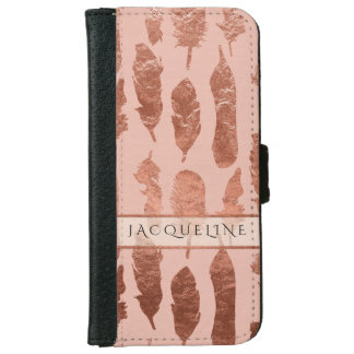Rose Gold Leaf Faux Watercolor Blush Boho Feathers iPhone 6 Wallet Case