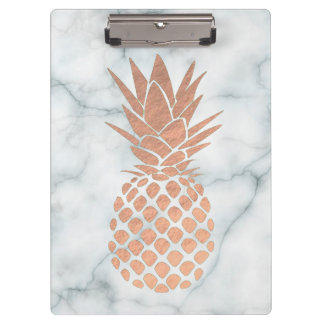 rose gold leaf pineapple on marble clipboard
