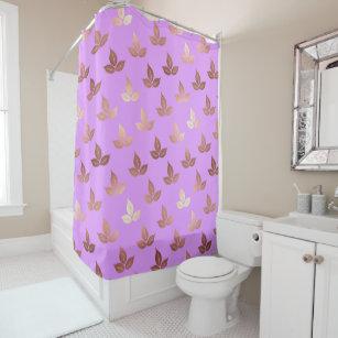 rose gold leaves leaf elegant lilac lavender shower curtain