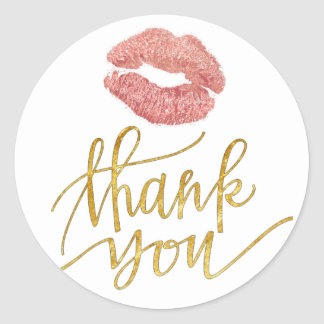 rose gold lips kiss thank you classic round sticker