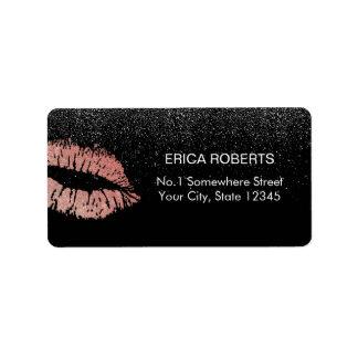 Rose Gold Lips Modern Black Glitter Beauty Salon Address Label