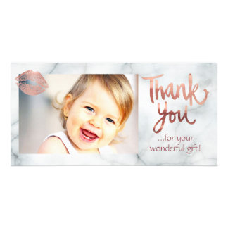 rose gold lipstick kiss on marble thank you card