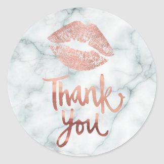rose gold lipstick kiss thank you on marble classic round sticker