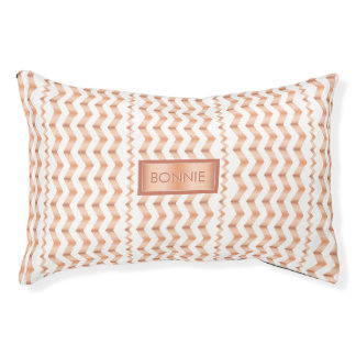 Rose Gold Look-like Chevron Pattern And Pet's Name Pet Bed
