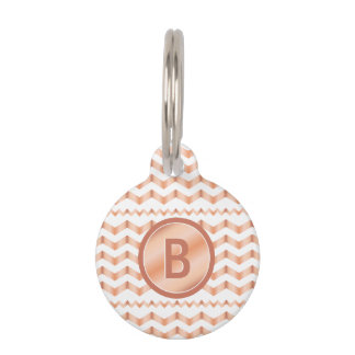 Rose Gold Look-like Chevron Pattern With Monogram Pet Tag