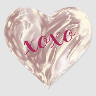 Rose Gold Love Heart Xoxo Watercolor Painted Heart Sticker