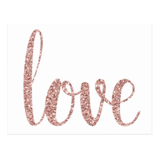 Rose gold love postcards, glitter postcard