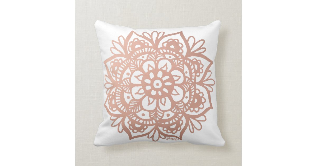 Rose Gold Mandala Throw Pillow Cushion Zazzle