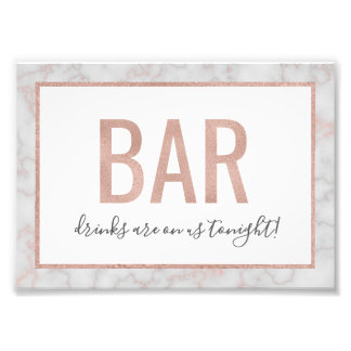 Rose Gold & Marble Bar Photo Print