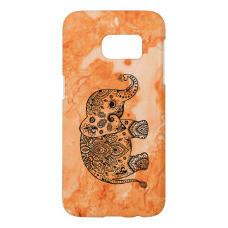 Rose-Gold Marble & Black Floral Paisley Elephant