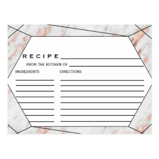 Rose Gold Marble Bridal Shower Recipe Cards