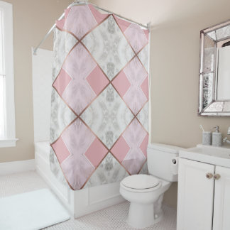 Rose Gold Marble Copper Effect Shower Curtain