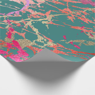 Rose Gold Marble Coral Teal Bright Pink Abstract Wrapping Paper