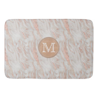 Rose Gold Marble Custom Monogram Bath Mat