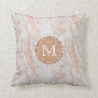 Rose Gold Marble Custom Monogram Cushion