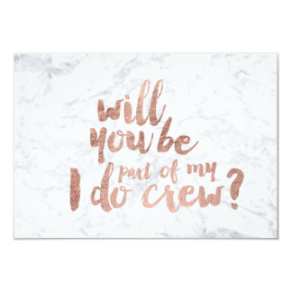 Rose gold marble I do crew 9 Cm X 13 Cm Invitation Card