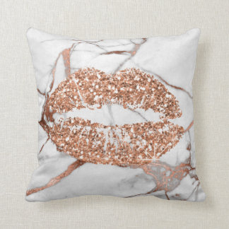 Rose Gold Marble Kiss Lips Makeup Copper Throw Pillow