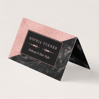 Rose Gold Marble Makeup Artist Hair Stylist Custom Business Card