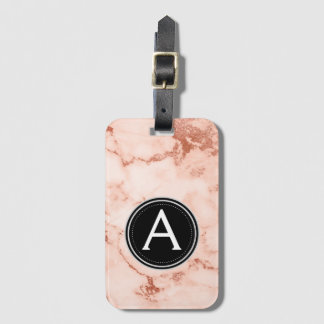 Rose Gold Marble Monogram Luggage Bag Tag