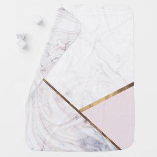 Rose Gold Marble Swirl & Blush Pink Bronze Glam Baby Blanket