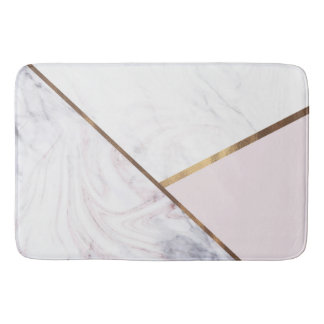 Rose Gold Marble Swirl & Blush Pink Bronze Glam Bath Mat