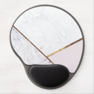 Rose Gold Marble Swirl & Blush Pink Bronze Glam Gel Mouse Pad