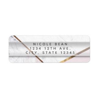 Rose Gold Marble Swirl & Blush Pink Bronze Glam Return Address Label