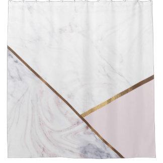 Rose Gold Marble Swirl & Blush Pink Bronze Glam Shower Curtain