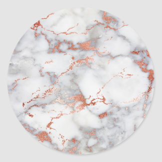 rose gold marble texture classic round sticker