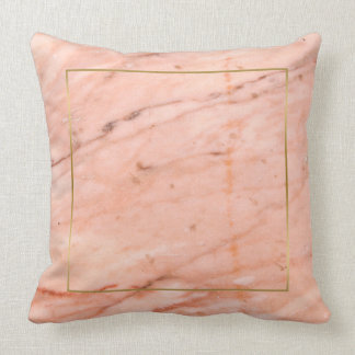 Rose-gold marble texture throw pillow