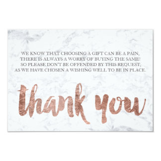 Rose gold marble thank you gift card 2 9 cm x 13 cm invitation card