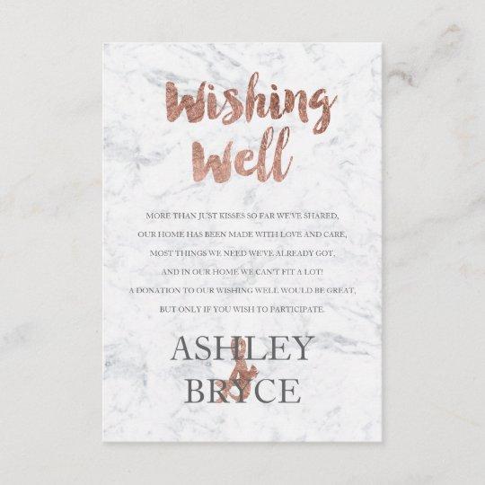 Wedding Wishing Well.Rose Gold Marble Typography Wishing Well Wedding Enclosure Card