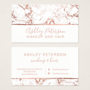 Hair and makeup business cards images business card template hair and makeup business cards business card printing zazzle rose gold marble white hair makeup typography colourmoves Images
