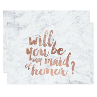 Rose gold marble Will you be my maid of honor Card