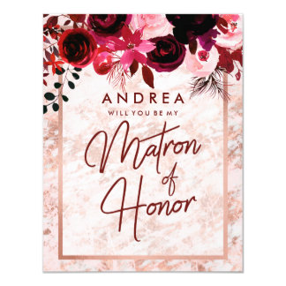 Rose Gold Marble Will You Be My Matron of Honour Card