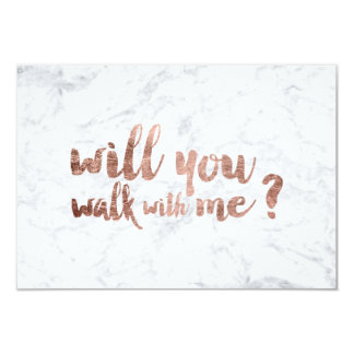 Rose gold marble Will you walk with me 9 Cm X 13 Cm Invitation Card