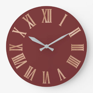 Rose Gold Maroon Copper Metallic Roman Numers Large Clock